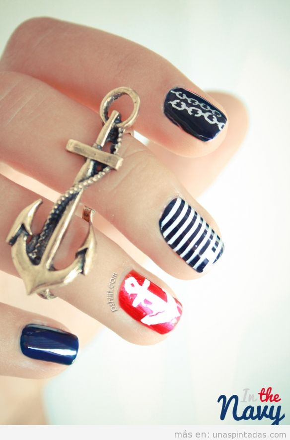 nail art in the navy u%25C3%25B1as decoradas pintadas estilo marinero dollskill lookbook photoshoot model wicked chain harness,U%C3%B1as Memes