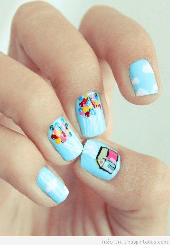 Nail Art o uñas pintadas con el motivo de la película Up in the Air
