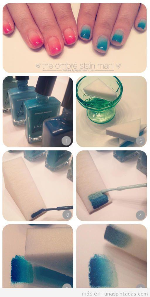 Cómo pintar las uñas con colores degradados