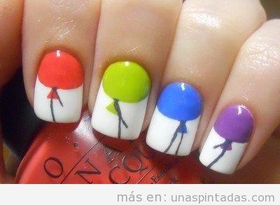 Nail Art, uñas decoradas con dibujos de globos de colores