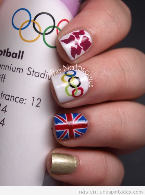 Diseño de uñas con dibujos de los Juegos Olímpicos Londres