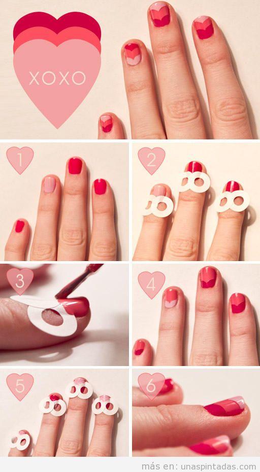 Dibujos sencillos para uñas pintadas con forma de corazones