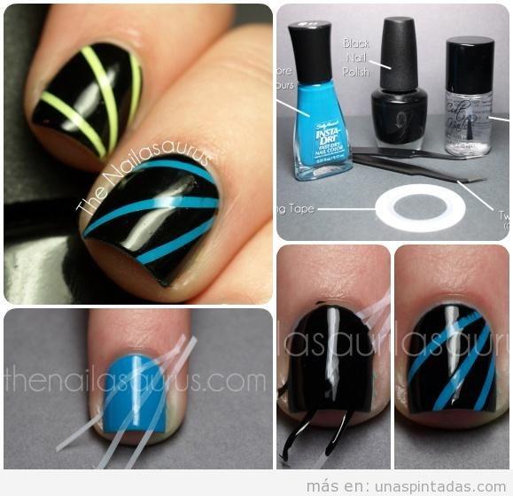 Instrucciónes de uñas. Paso a paso nail art motivo
