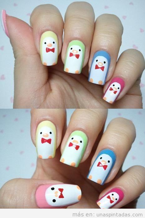 uñas pintadas con unos sencillos y divertidos dibujos de pingüinos con pajarita