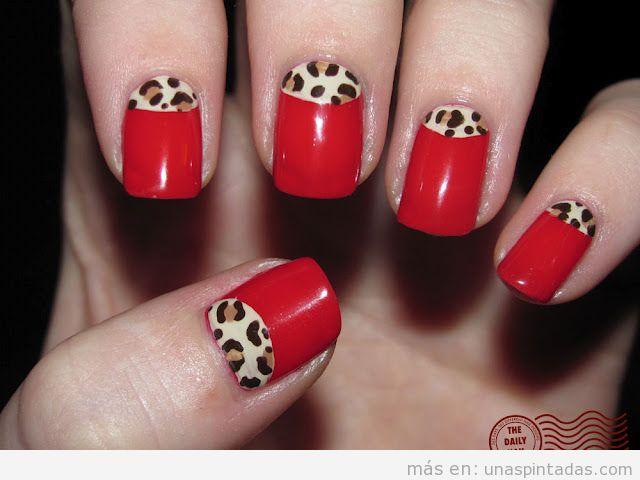 Nail art estilo Rockabilly, con rojo y leopardo