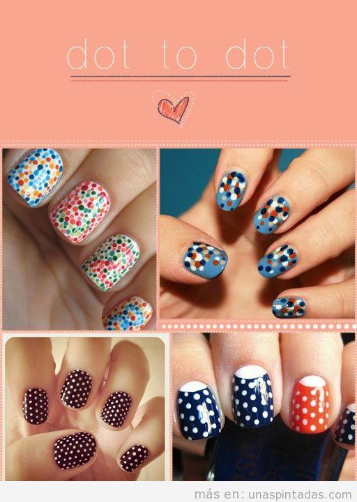Cuatro ideas diferentes para pintar tus uñas con topos o lunares de colores
