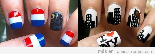 Dibujos sencillos para decorar tus uñas con dibujos de ciudades como París y Nueva york