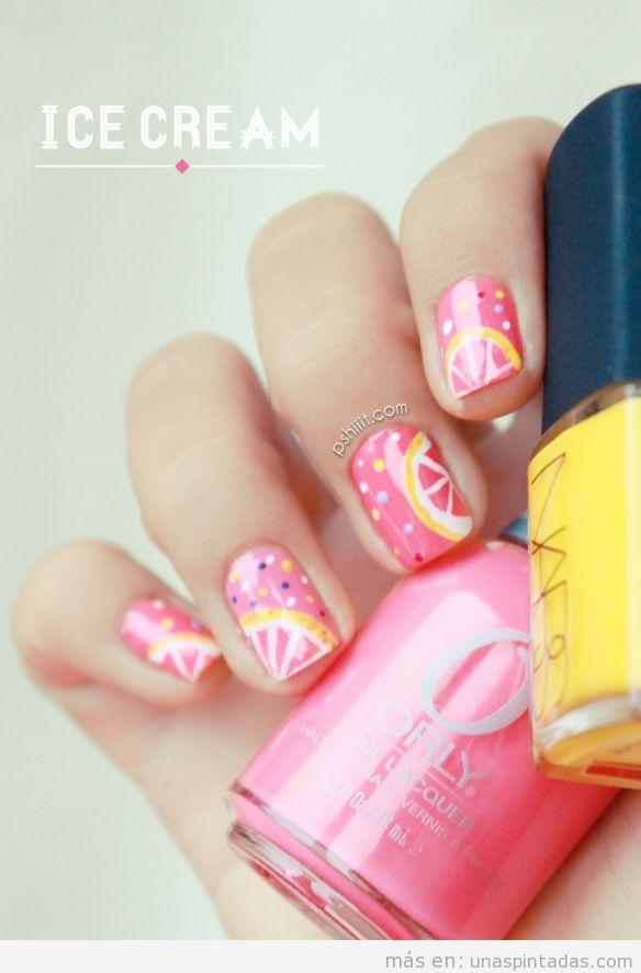 Decoración de uñas inspirado en helado de limón