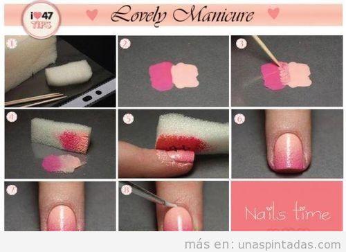 Truco para el Nail Art con degradado