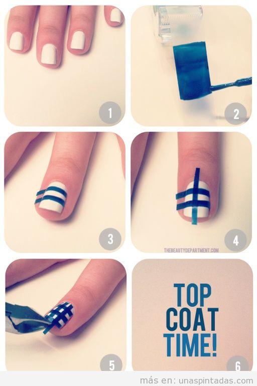 Truco, pintar cinta adhesiva o celo, pegar en las uñas y cortar