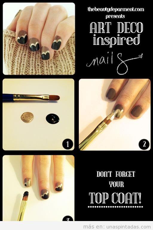 Nail Art, diseño de uñas negro, marrón y dorado, inspirado en Art Déco