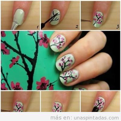 Dibujo de una rama de cerezo para tus uñas pintadas, sencillo y paso a paso