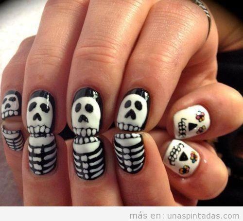 Dibujo de uñas de calaveras y esqueleto para halloween