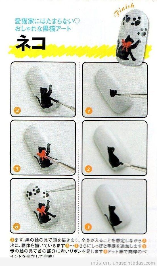 Uñas pintadas al estilo japonés con un dibujo sencillo de un gato paso a paso