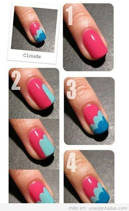 Tutorial para saber como pintar las uñas con forma de nubes paso a paso