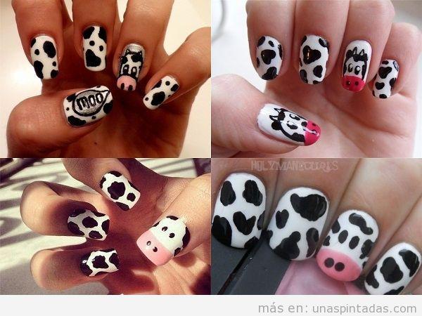 Estampado de uñas de vaca con cara