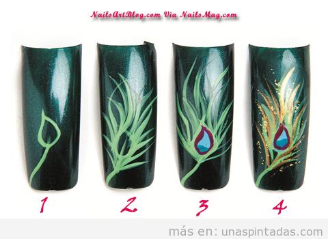 Tutorial paso a paso para dibujar decoración de uñas de pavo real