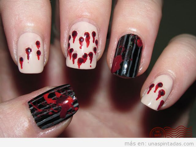 Diseño de uñas gore con sangre, basado en una masacre
