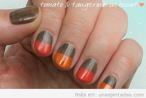 Decoración de uñas fácil en color block, marrón y naranja