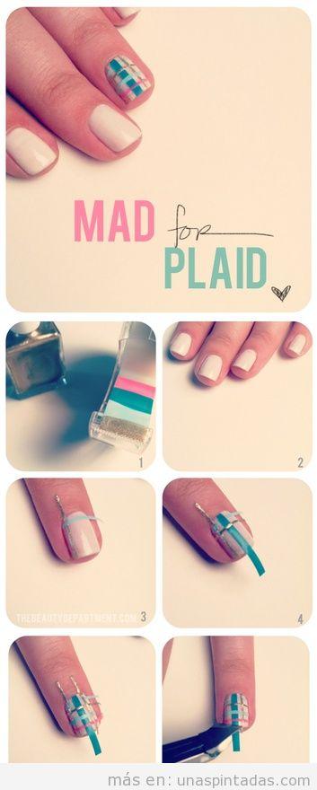 Truco para la decoración de uñas con cinta adhesiva pintada