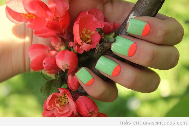 Decoración de uñas sencilla y fácil con media luna y colores de neón