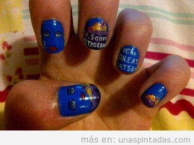 Diseño de uñas inspirado en la portada de la novela El Gran Gatsby