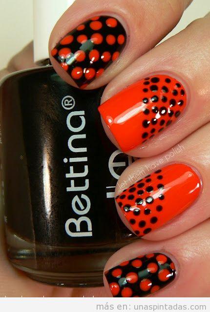Nail Art de lunares o dots en naranja y negro