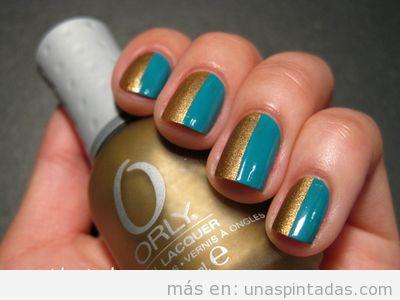 Decoración de uñas fácil y sencilla, mitad dorada mitad turquesa