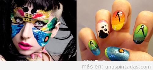 Diseño de uñas inspirado en un maquillaje de Lady Gaga