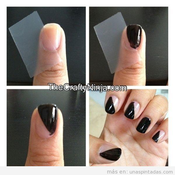 Decoración de uñas fácil hecha con cinta adhesiva
