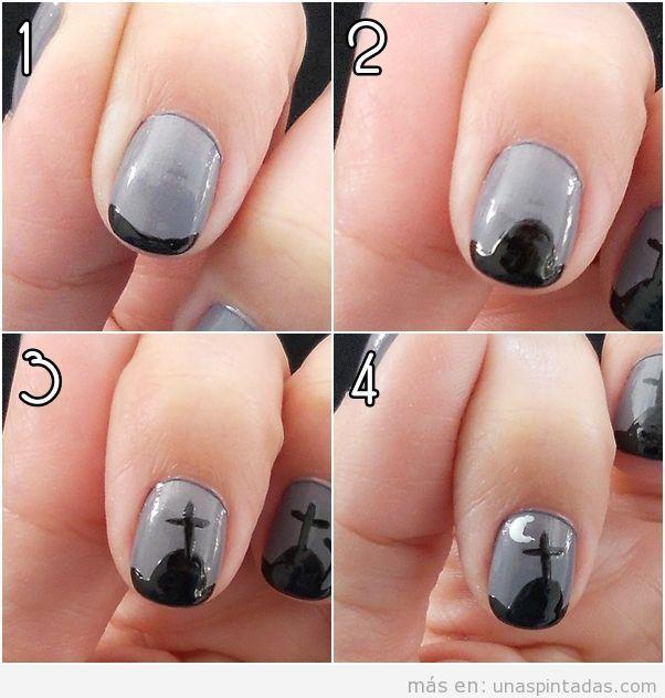 Tutorial paso a paso de diseño de uñas con dibujo sencillo de cementerio para Halloween