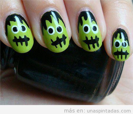 Diseño de uñas con dibujo fácil de Frankenstein paso a paso
