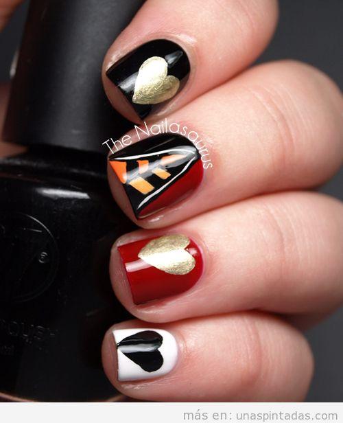 Decoración de uñas basada en Reina de Corazones