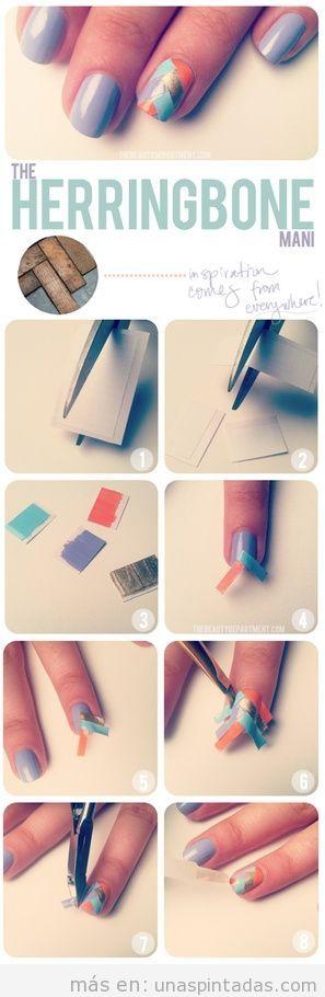 Tutorial para diseño de uñas con estampado de espiga, paso a paso
