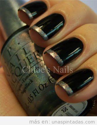 Decoración de uñas con manicura francesa en negro y plateado con purpurina