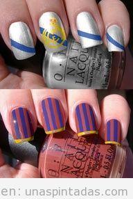 Decoración de uñas basada en el Barça Real Madrid
