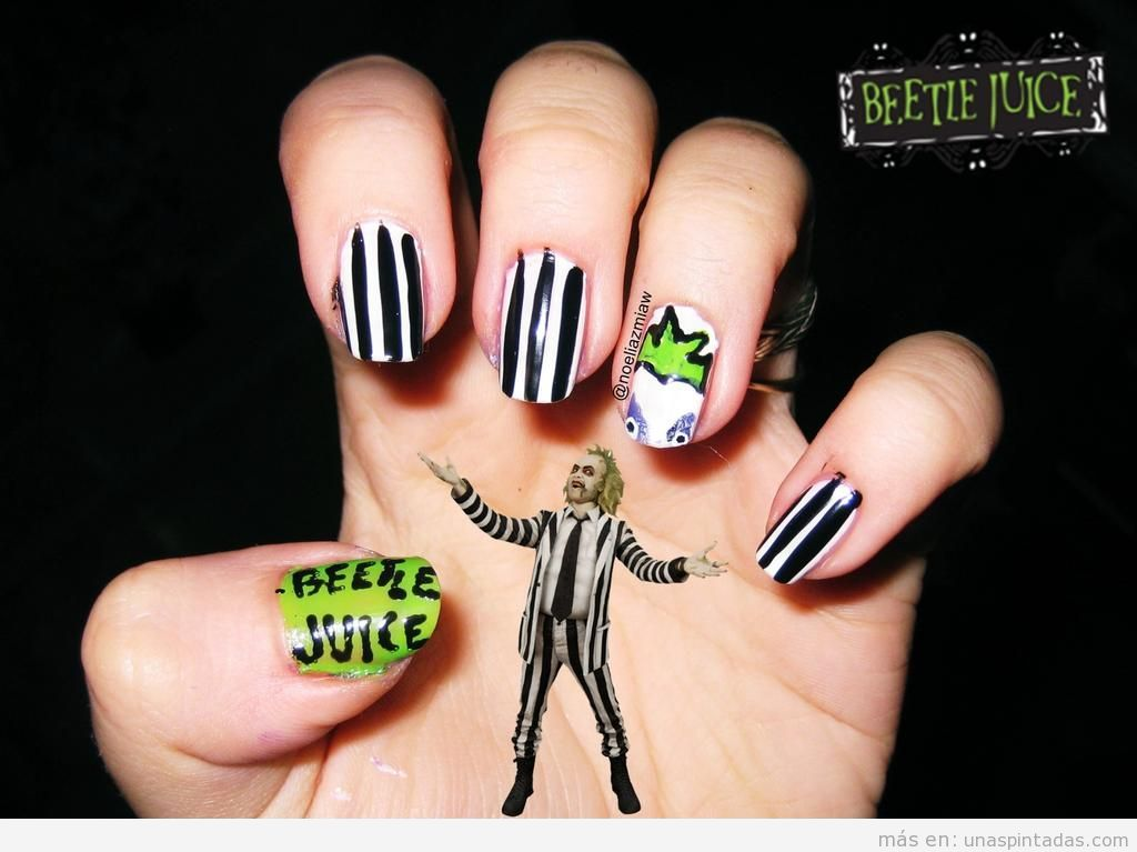 Diseño de uñas para Halloween con Beetlejuice o Bitelchús