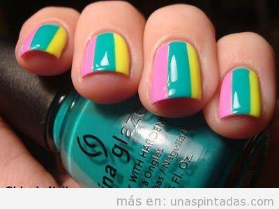 Decoración uñas tricolor, rosa, verde y amarillo pastel