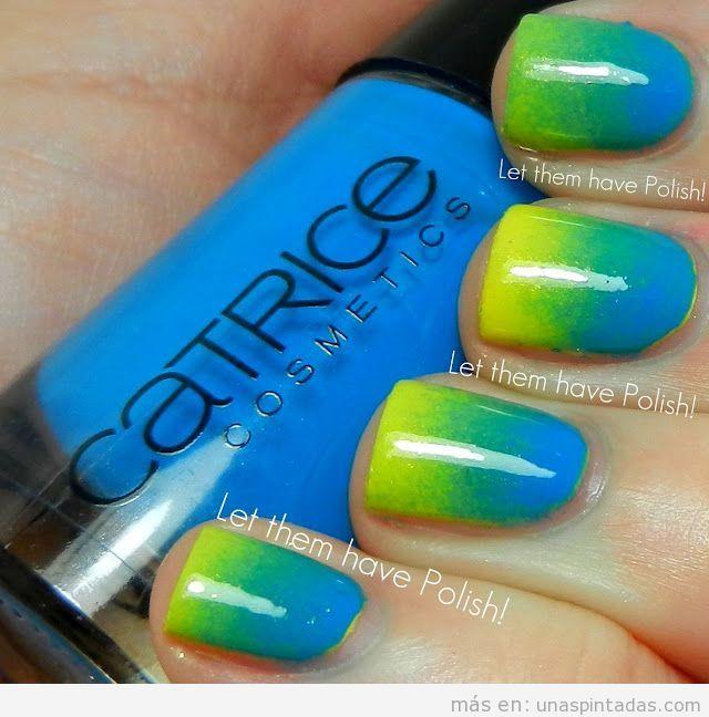 Diseño de uñas con degradado colores tropicales, canarinha