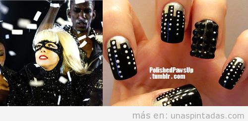 Decoración de uñas con edificios y luces de ciudad inspirado en Lady Gaga