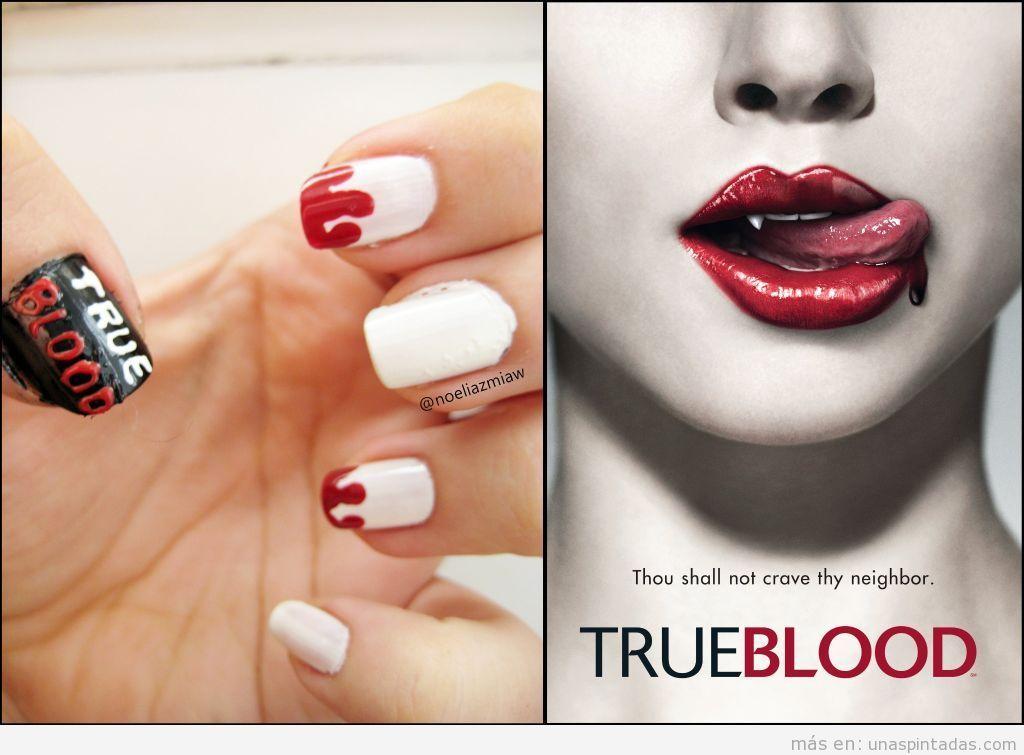 Nail art inspirado en la serie True Blood, Sangre Fresca