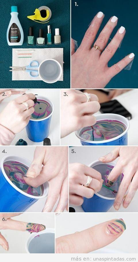 Tutorial paso a paso con fotos para hacer una decoración de uñas al agua