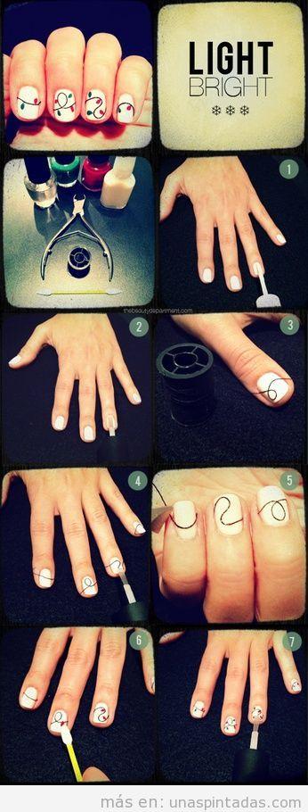 Tutorial paso a paso para una decoración de uñas con hilos