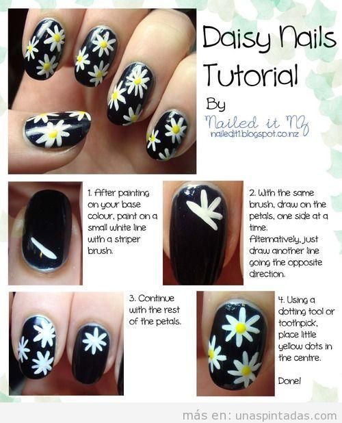 Tutorial paso a paso con fotos para dibujar margaritas en tus uñas pintadas