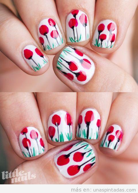 Diseño de uñas con dibujos de amapolas
