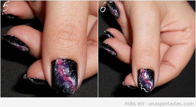 Fotos paso a paso para diseño de uñas de galaxia