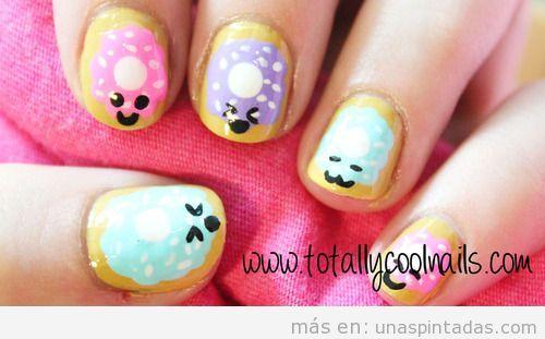 Diseño de uñas con donuts estilo Kawaai