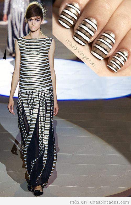 Nail art inspirado en un vestido de primavera verano 2013 de Marc Jacobs