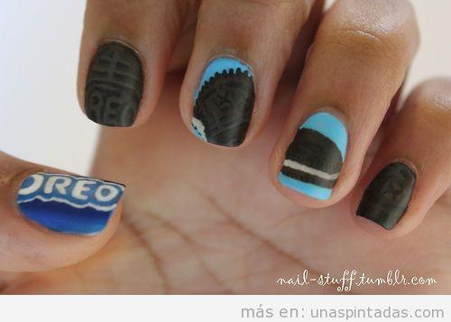 Diseño de uñas de galletas Oreo