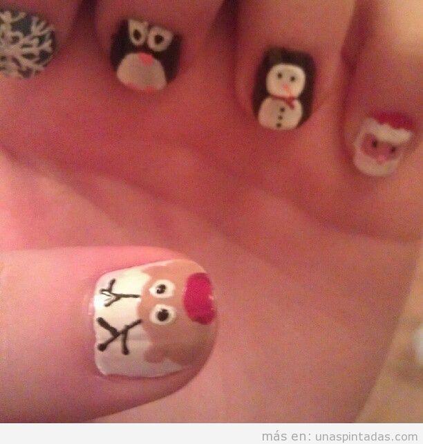 Diseño de uñas para invierno y Navidad